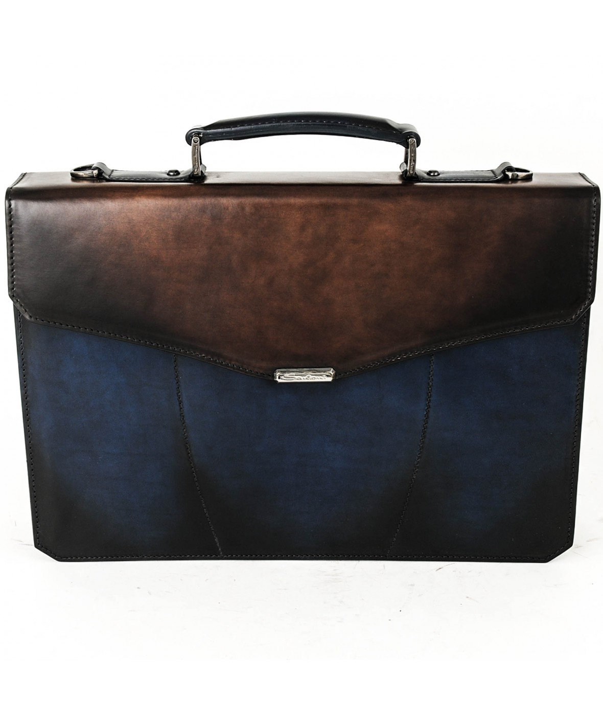Santoni Office Bag two colours Blue / Brown (29675)