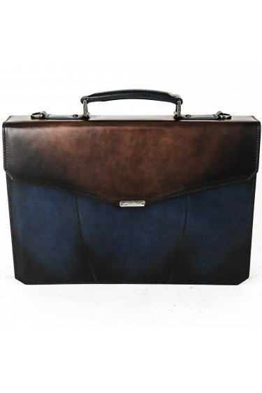 Santoni Office Bag two colors Blue / Brown (29675)
